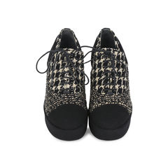 Tweed Lace-up Platforms