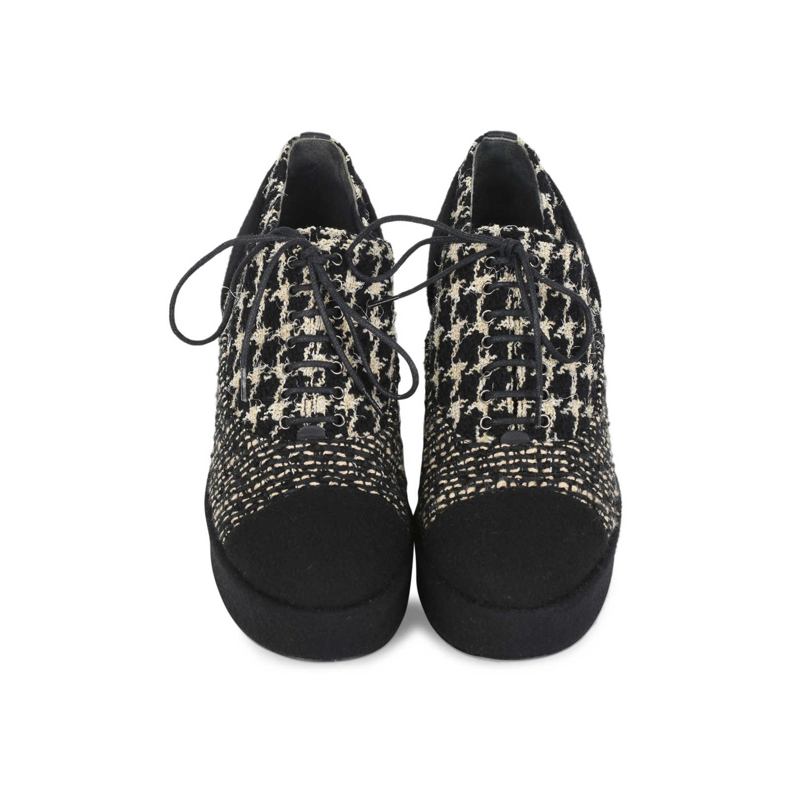 d50aeddab Authentic Second Hand Chanel Tweed Lace-up Platforms (PSS-200-01147) ...