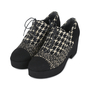 Authentic Second Hand Chanel Tweed Lace-up Platforms (PSS-200-01147) - Thumbnail 3