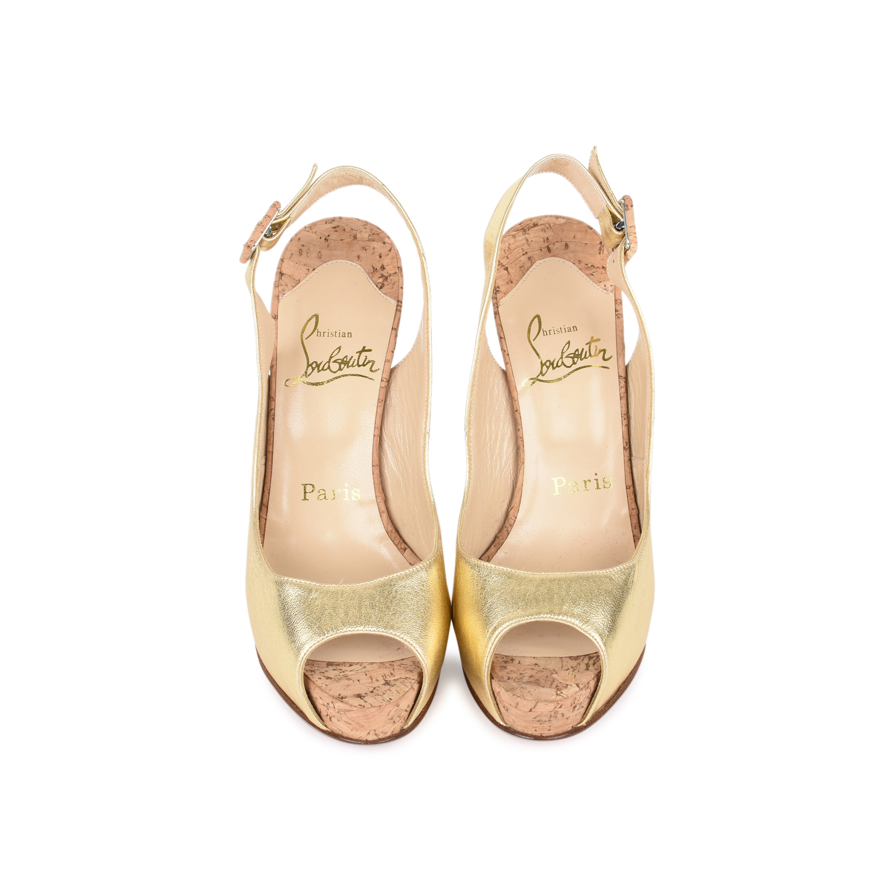 d0f6a6a4530 Authentic Second Hand Christian Louboutin Gold Cork Slingbacks  (PSS-200-01143)