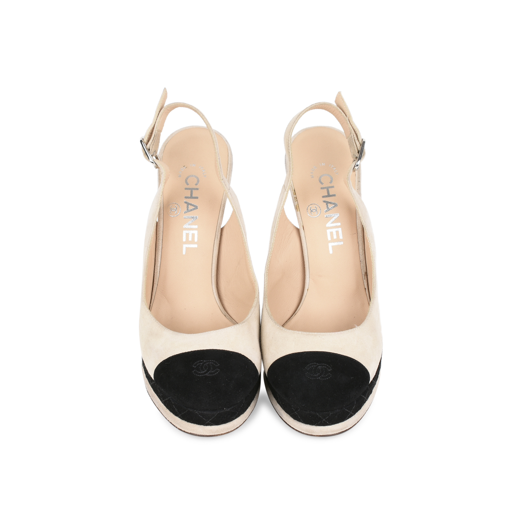 6dd252ddff42 Authentic Second Hand Chanel Cap Toe Slingback Pumps (PSS-200-01160 ...