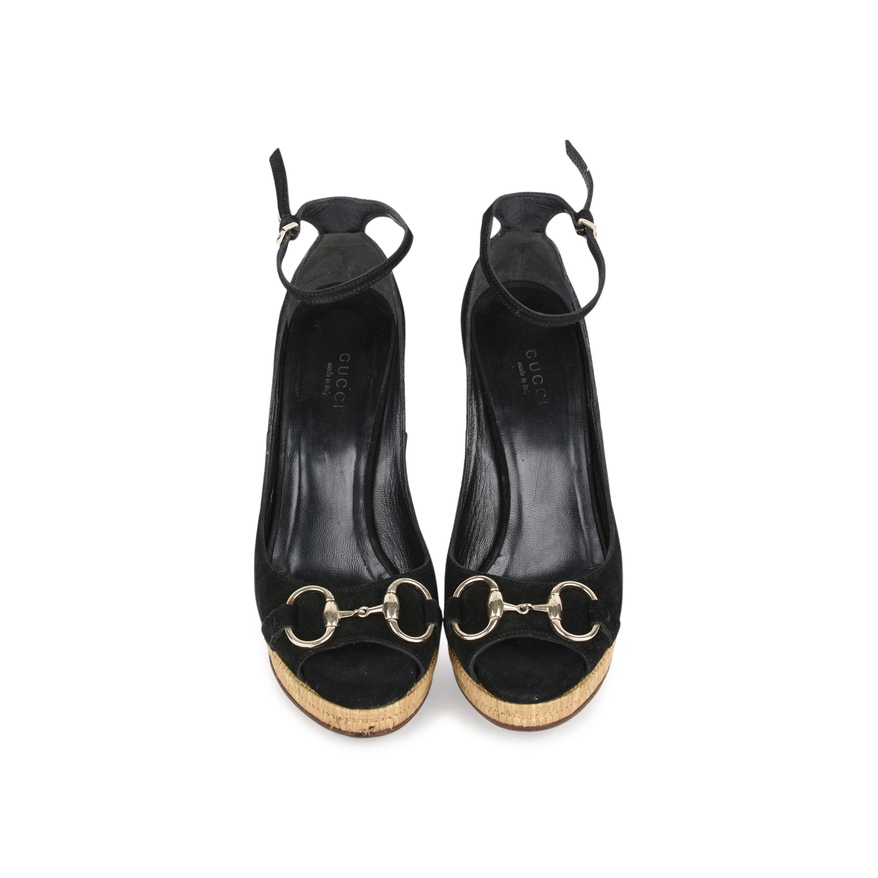 da7361ee285 Authentic Second Hand Gucci Suede Horsebit Peep-Toe Wedges (PSS-200-01151)