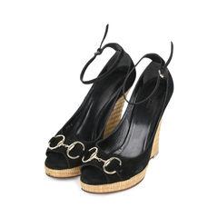 Gucci suede horsebit peep toe wedges 2?1533100157