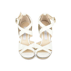 Patent Woven Wedge Sandals