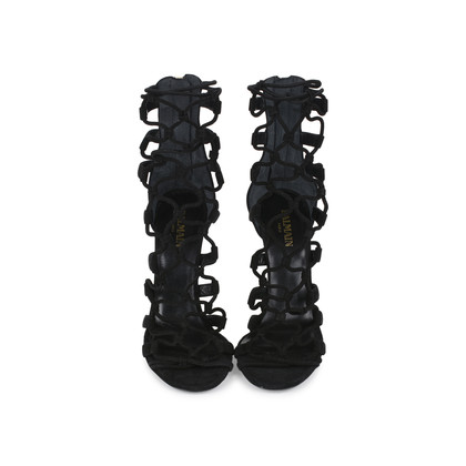 Authentic Second Hand Balmain Cutout Suede Sandals (PSS-200-01155)