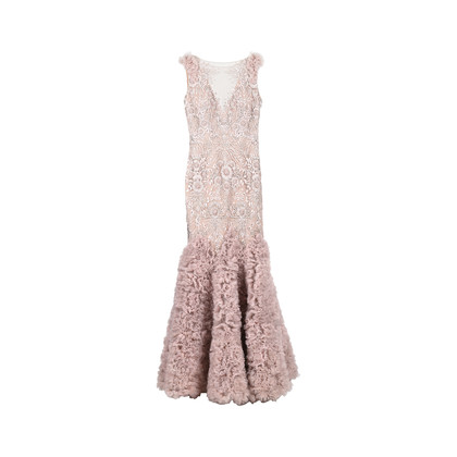 Authentic Second Hand (unbranded) Intricate Mesh Embroidered Gown (PSS-515-00025)