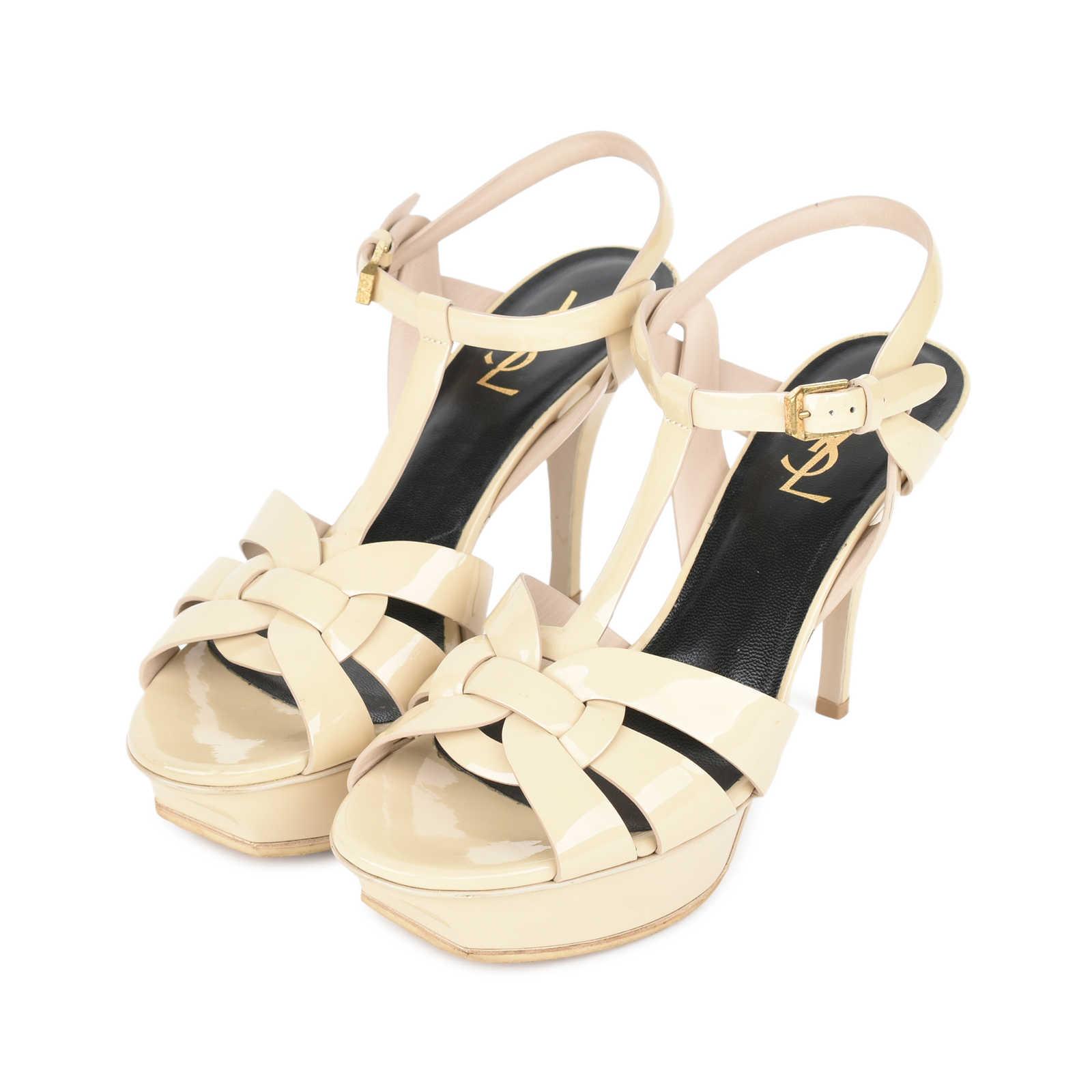 65e8a97422 ... Authentic Second Hand Saint Laurent Nude Patent Tribute Sandals  (PSS-532-00007) ...