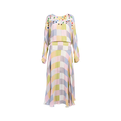 Authentic Second Hand Preen by Thornton Bregazzi Norma Checked Georgette Dress (PSS-539-00011)