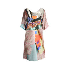 Multi Fabric Brocade Digital Print Dress