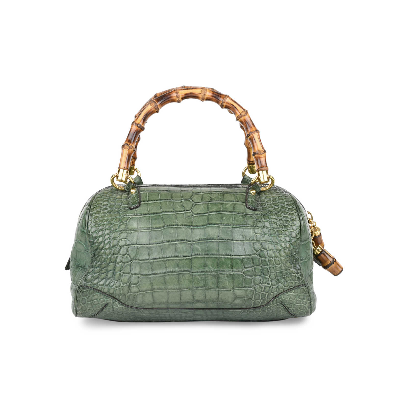 813aa22f453 ... Authentic Second Hand Gucci Crocodile Bamboo Bag (PSS-420-00065) -  Thumbnail ...