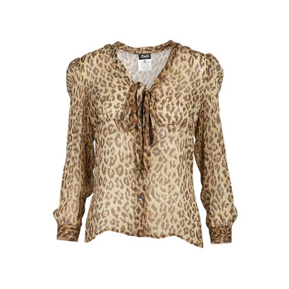 Authentic Second Hand D&G Sheer Leopard Print Blouse (PSS-493-00027)