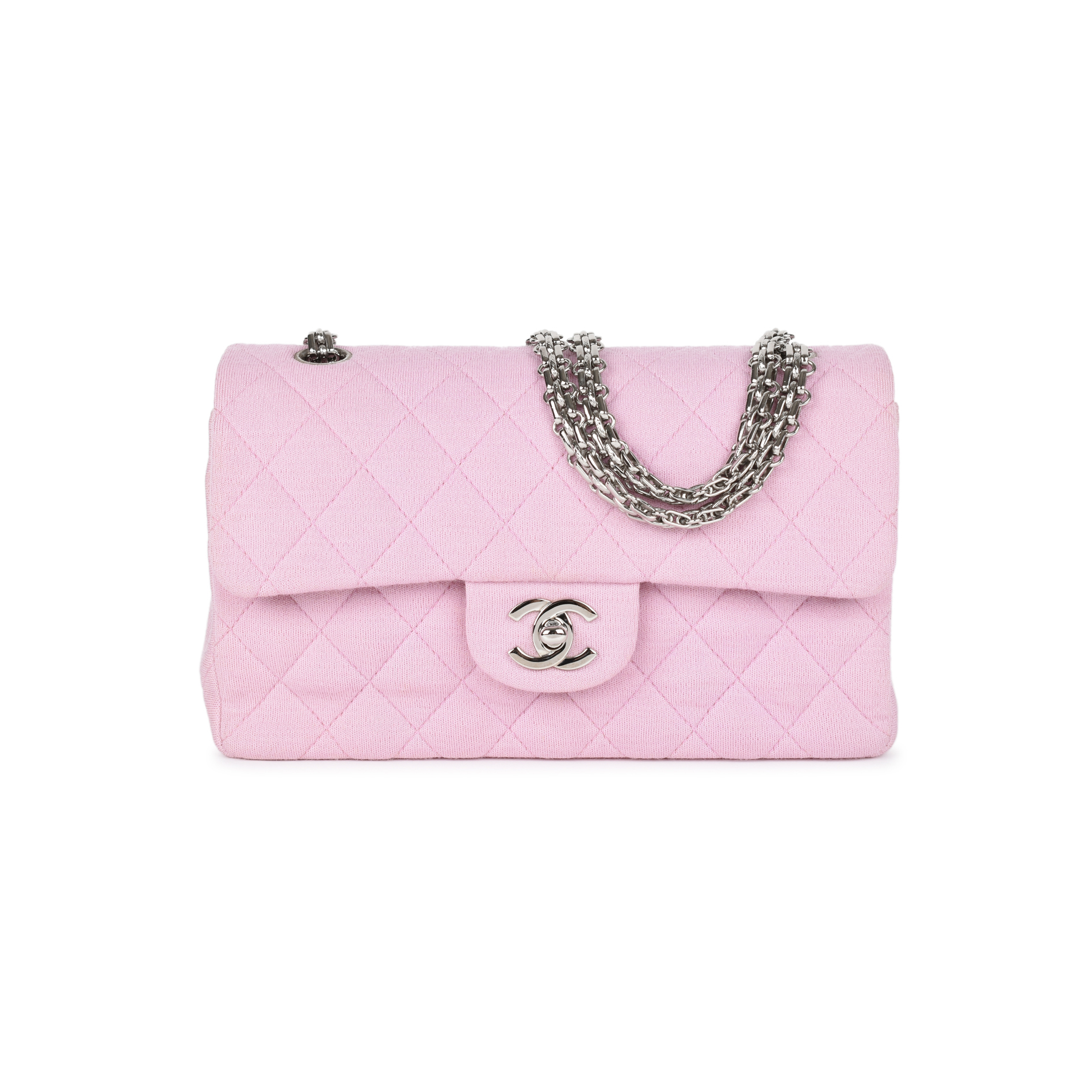 b45539b72d12 Authentic Second Hand Chanel Baby Pink Jersey Small Classic Flap Bag  (PSS-051-00374)