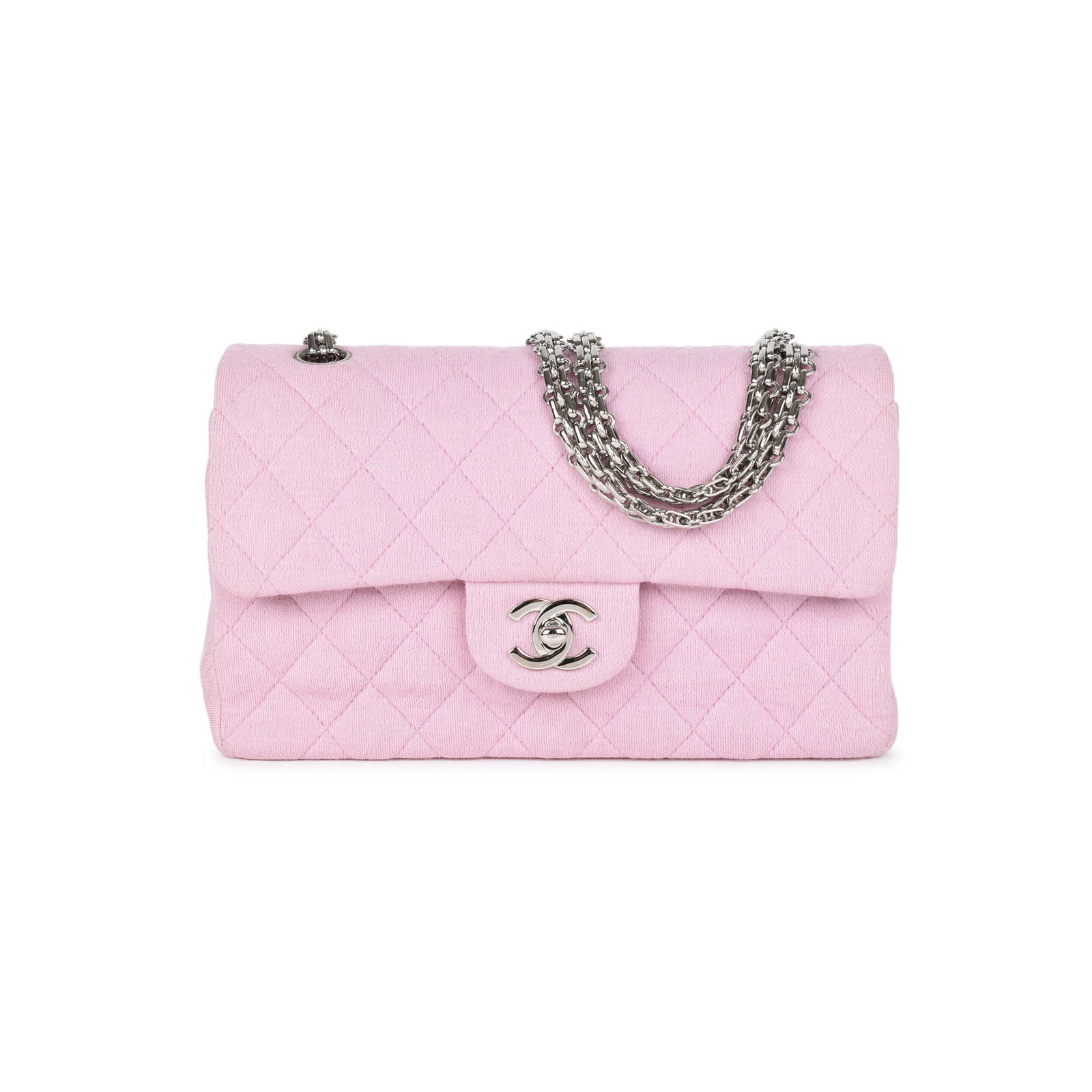 376a7b2e0834 Authentic Second Hand Chanel Baby Pink Jersey Small Classic Flap Bag  (PSS-051- ...