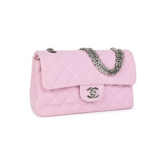 Chanel baby pink jersey small classic flap bag 2?1533890924