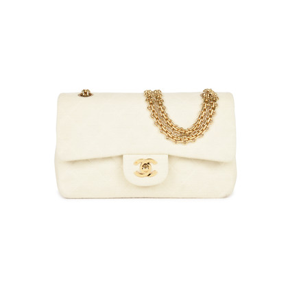 Authentic Second Hand Chanel Cream Jersey Small Classic Flap Bag (PSS-051-00377)