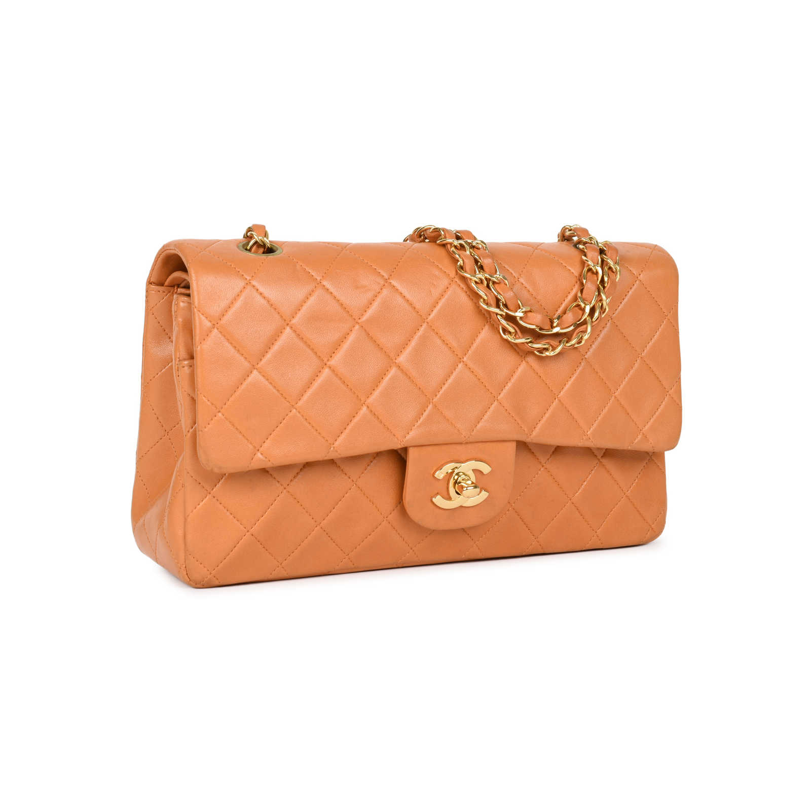 259fe84f8aad ... Authentic Second Hand Chanel Orange Medium Classic Flap Bag  (PSS-051-00380) ...