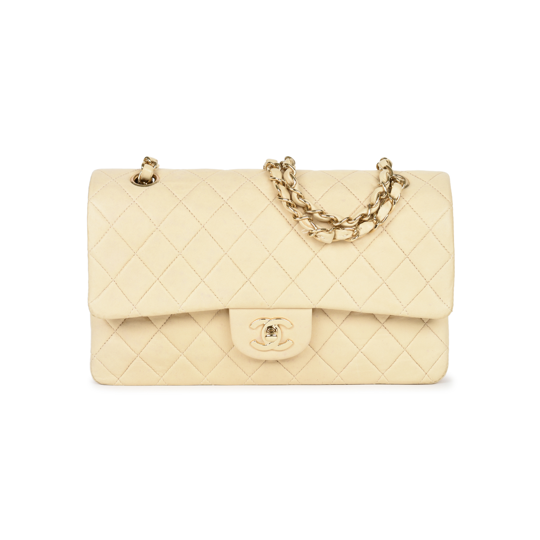 Authentic Second Hand Chanel Cream Medium Classic Flap Bag (PSS-051-00381)   a26ef162f3e86