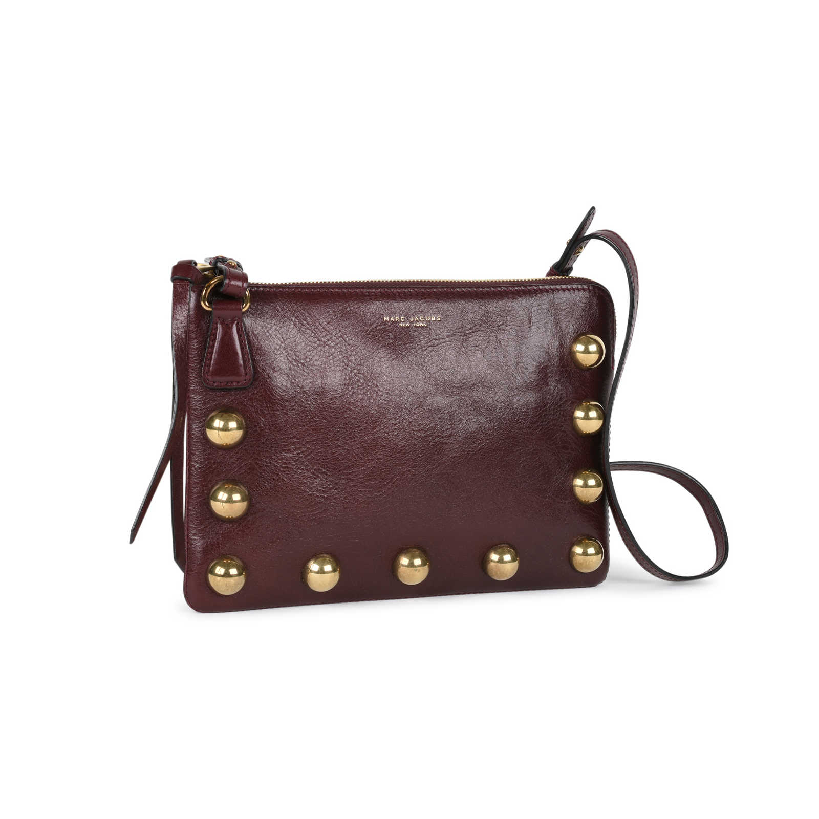 54776cb88d43 ... Authentic Second Hand Marc Jacobs Gold Stud Leather Crossbody Bag  (PSS-543-00001 ...