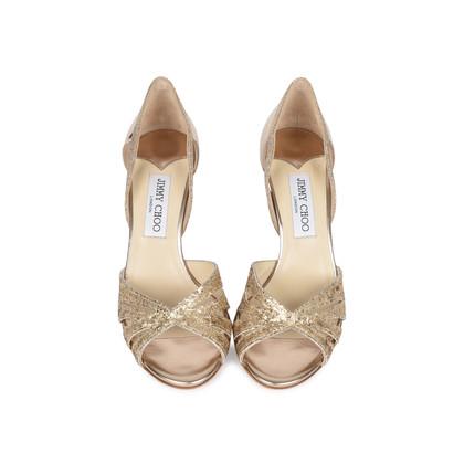Authentic Second Hand Jimmy Choo Gerda Glitter Sandals (PSS-540-00010)