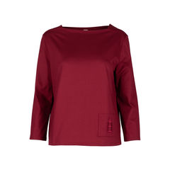 Boat Neck Blouse with Embroidered Pocket