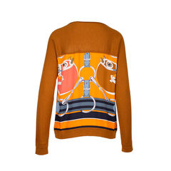 Hermes orange silk print sweater 1?1534311454