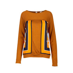 Orange Silk Print Sweater