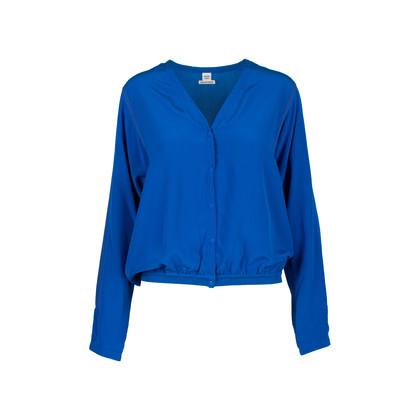 Authentic Second Hand Hermès Blue Silk Cardigan (PSS-051-00399)