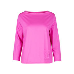 Pink Boat Neck Blouse with Embroidered Pocket
