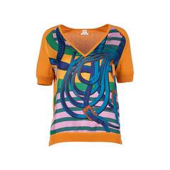 V-Neck Silk Knit Blouse