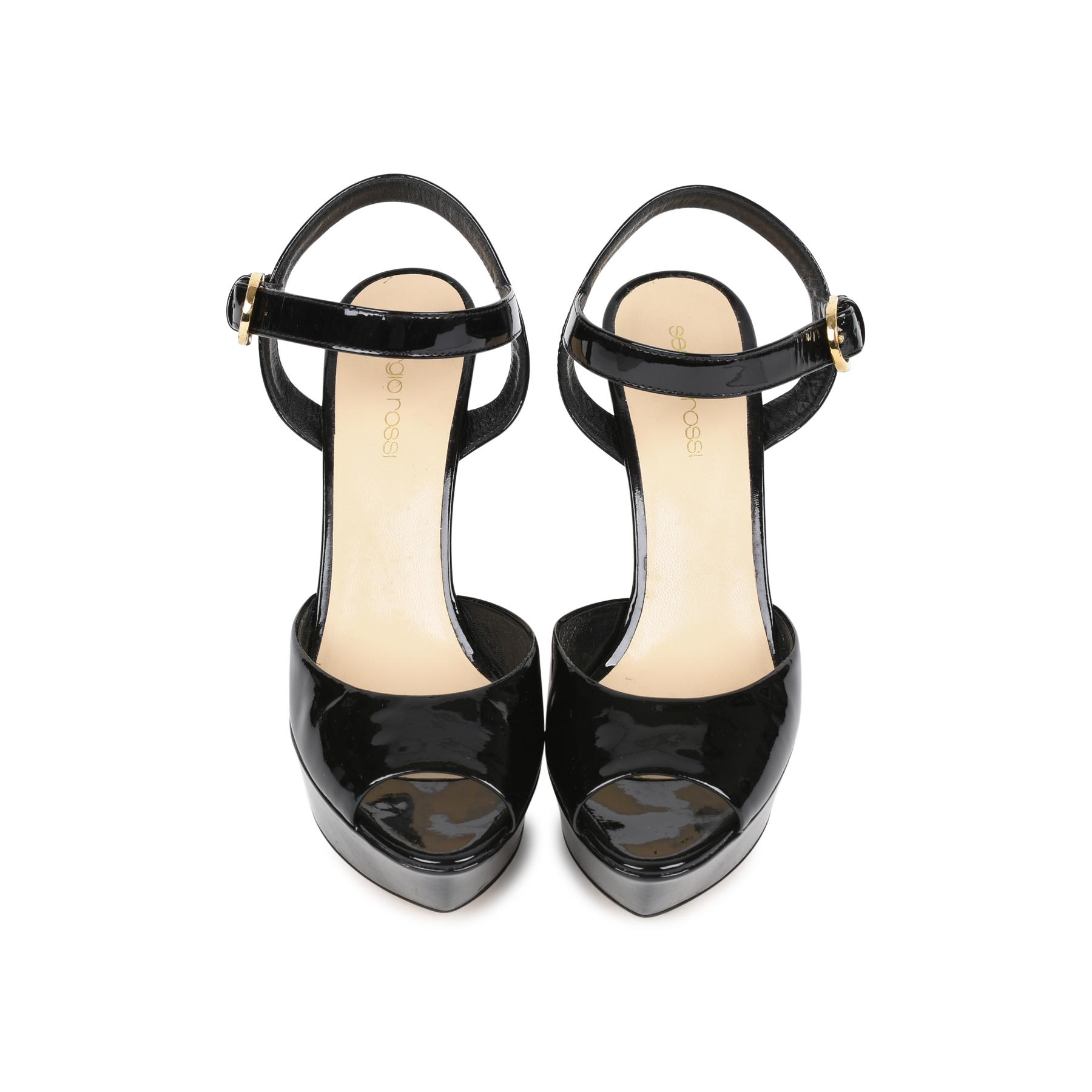 fa263f2b8e2 Authentic Second Hand Sergio Rossi Patent Platform Sandals (PSS-524-00001)