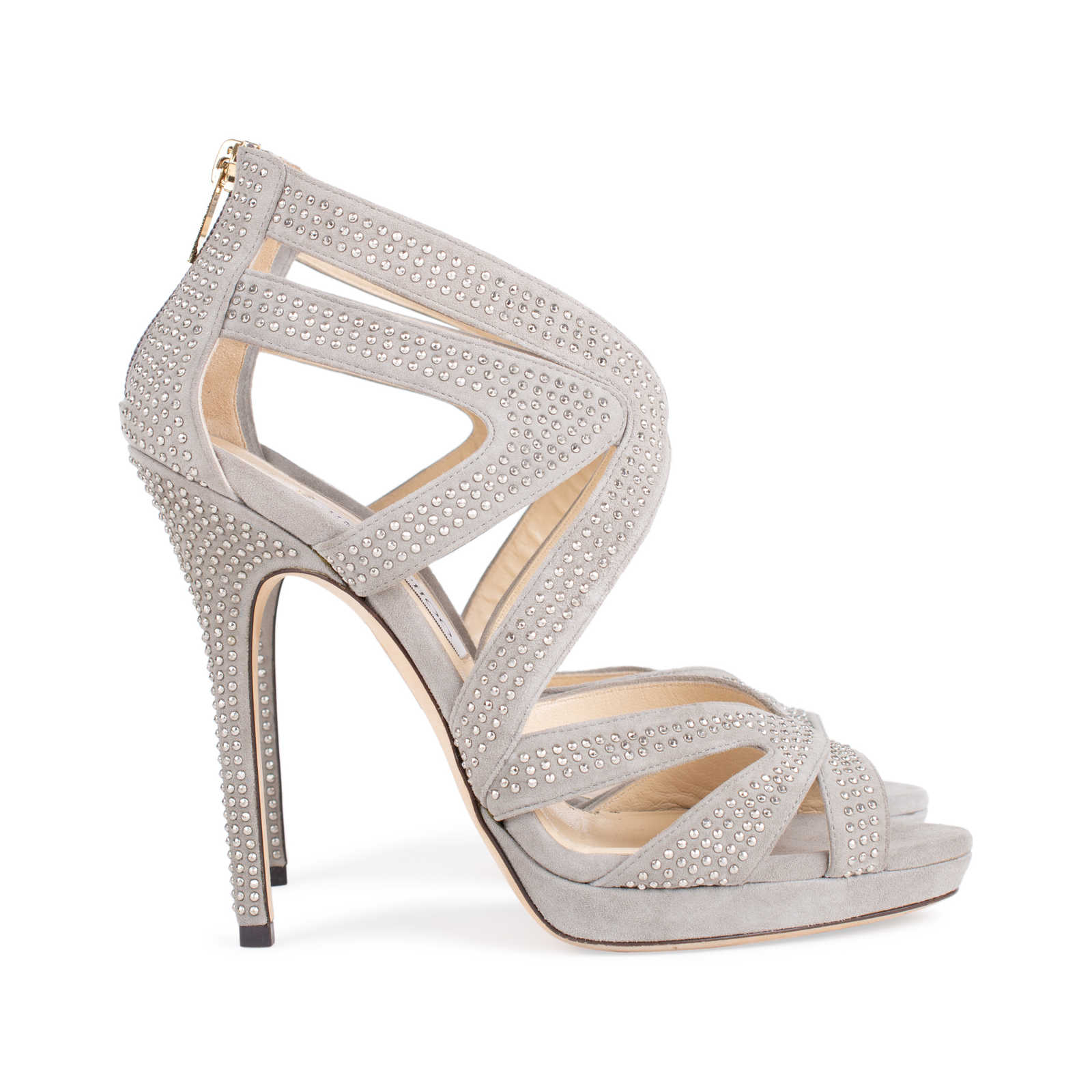1fbf35c13fce ... Authentic Second Hand Jimmy Choo Suede Collar Stud Sandals  (PSS-544-00010) ...