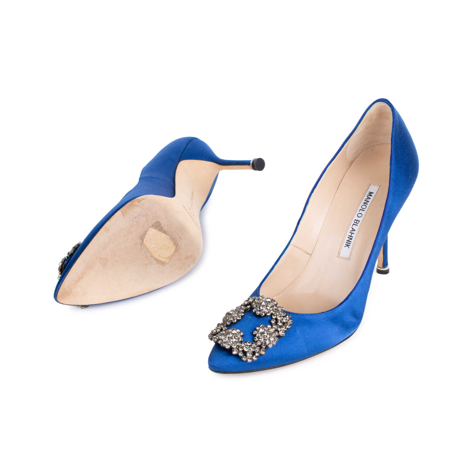 c8294fe534e5 ... Authentic Second Hand Manolo Blahnik Blue Hangisi Pumps (PSS-544-00011)  ...