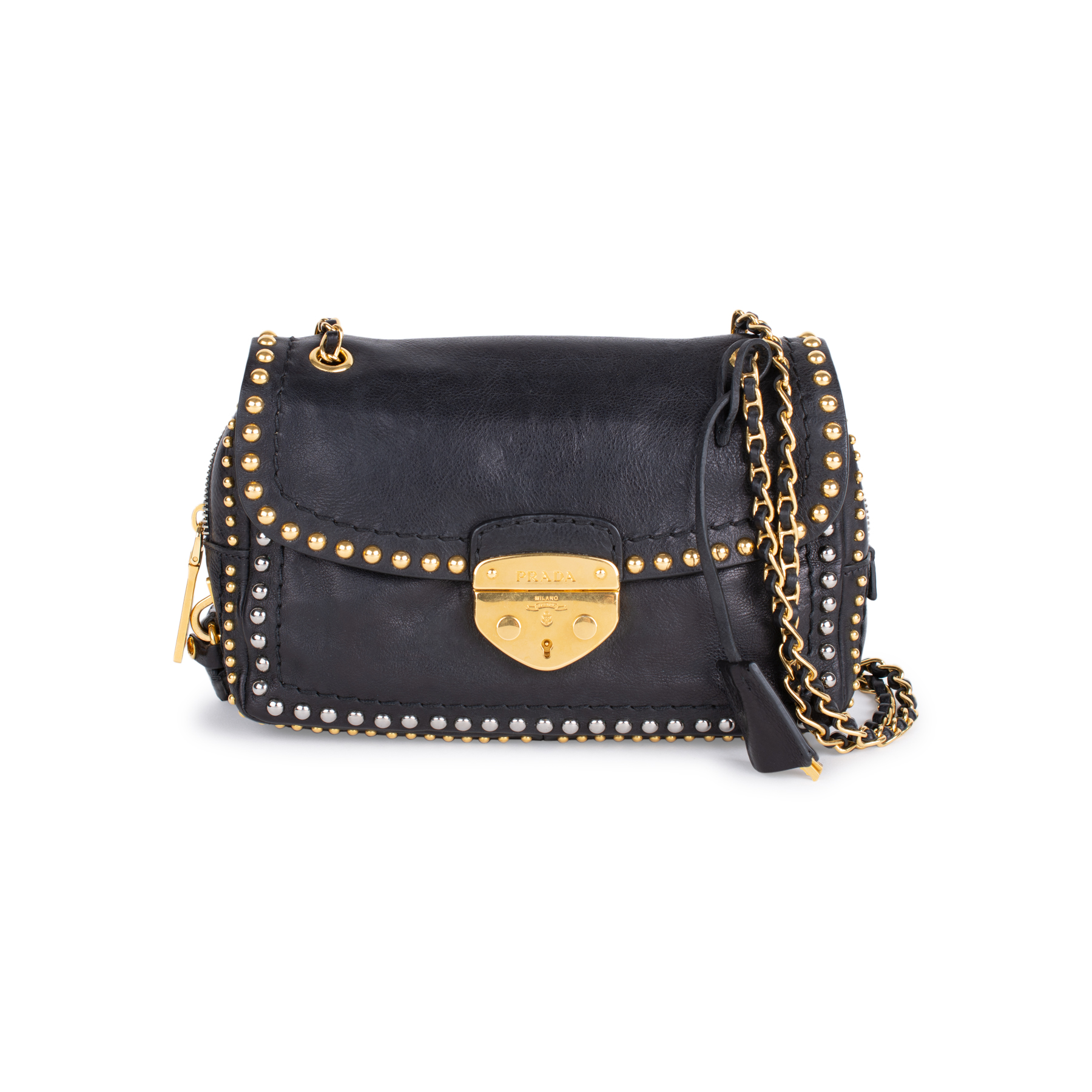 af4855a2c51d Authentic Second Hand Prada Studded Push-lock Crossbody Bag (PSS-333-00021)  | THE FIFTH COLLECTION