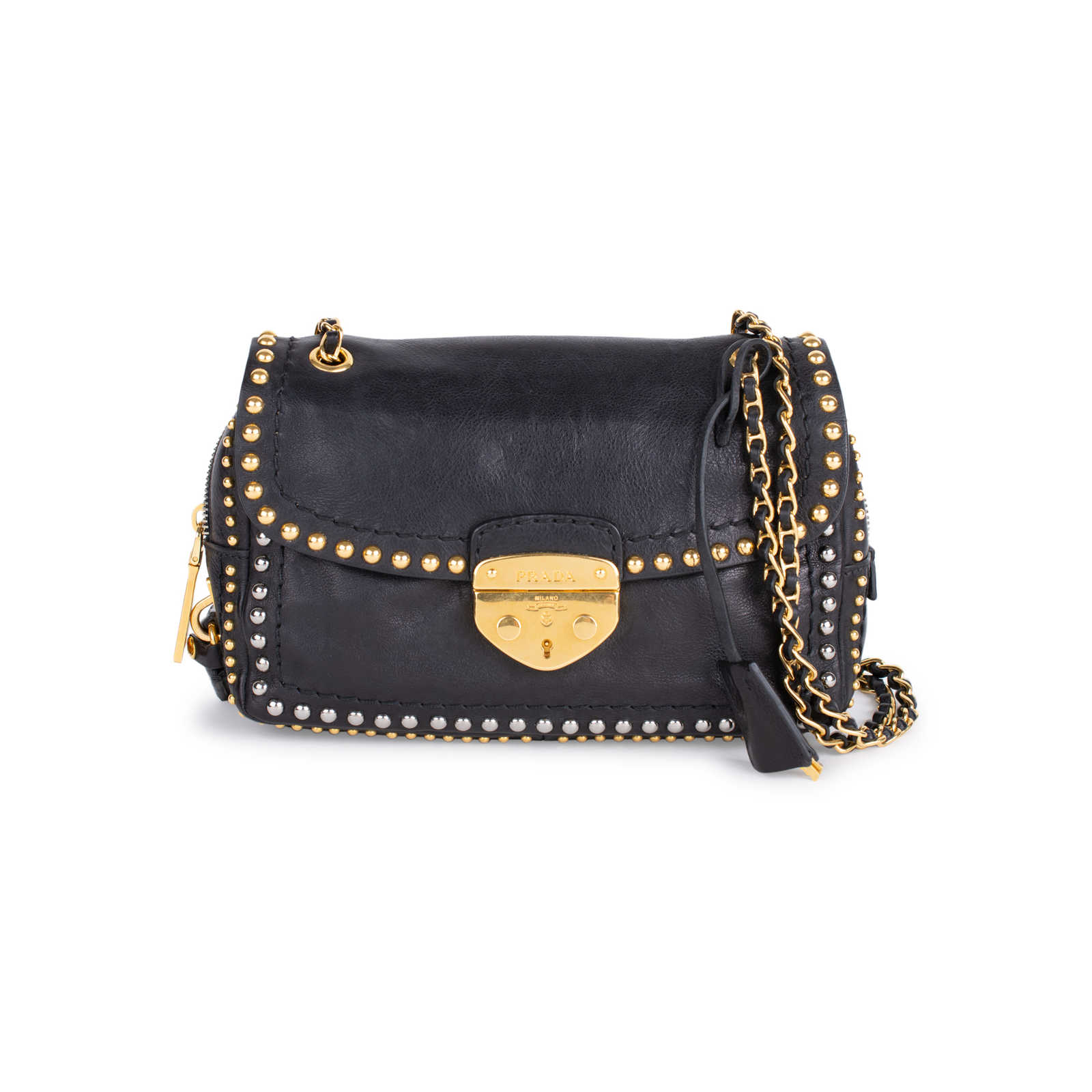 ddae9592cfbe Authentic Second Hand Prada Studded Push-lock Crossbody Bag (PSS-333-00021  ...