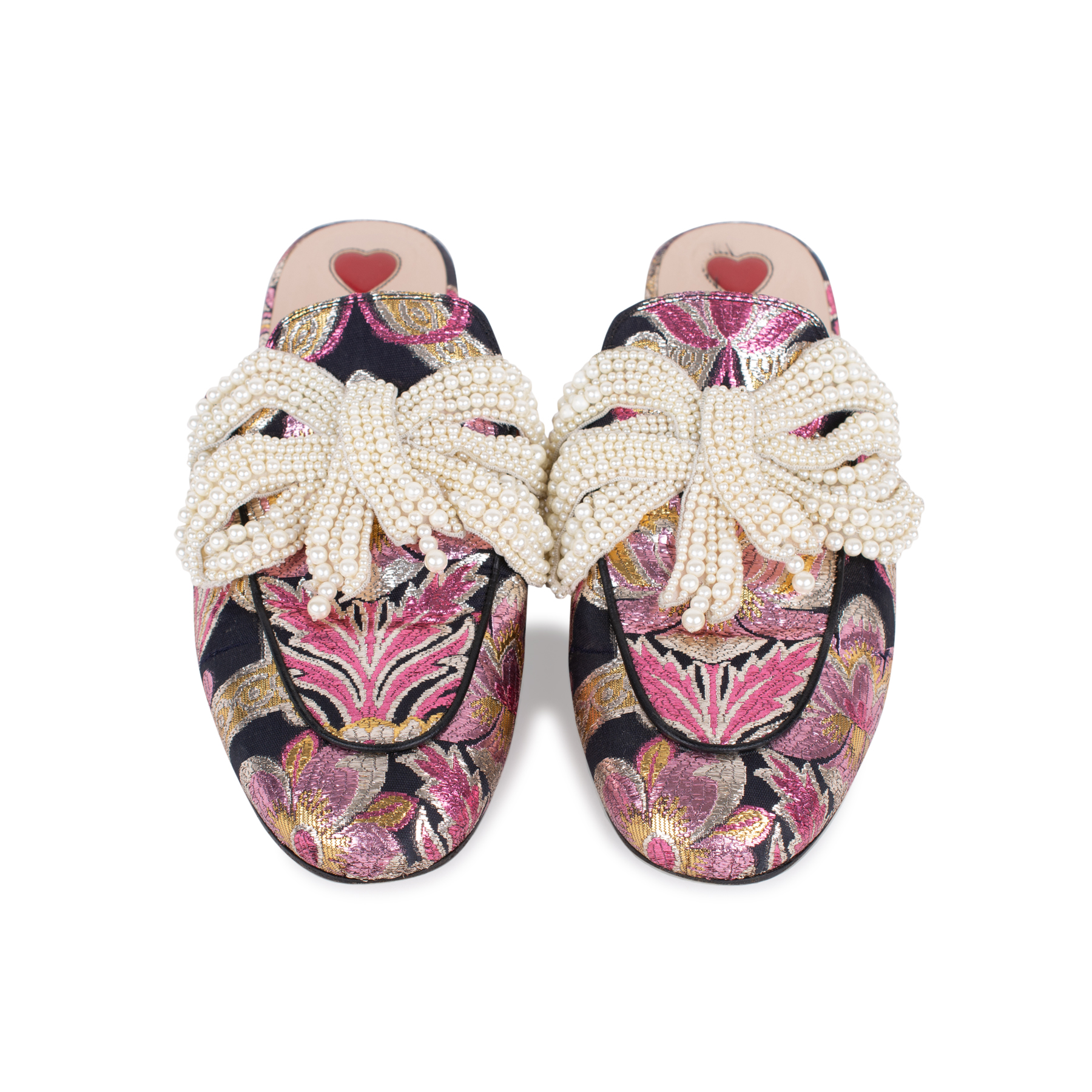 5f8ff0ee066 Authentic Second Hand Gucci Princetown Pearl Embellished Brocade Slippers  (PSS-197-00085)