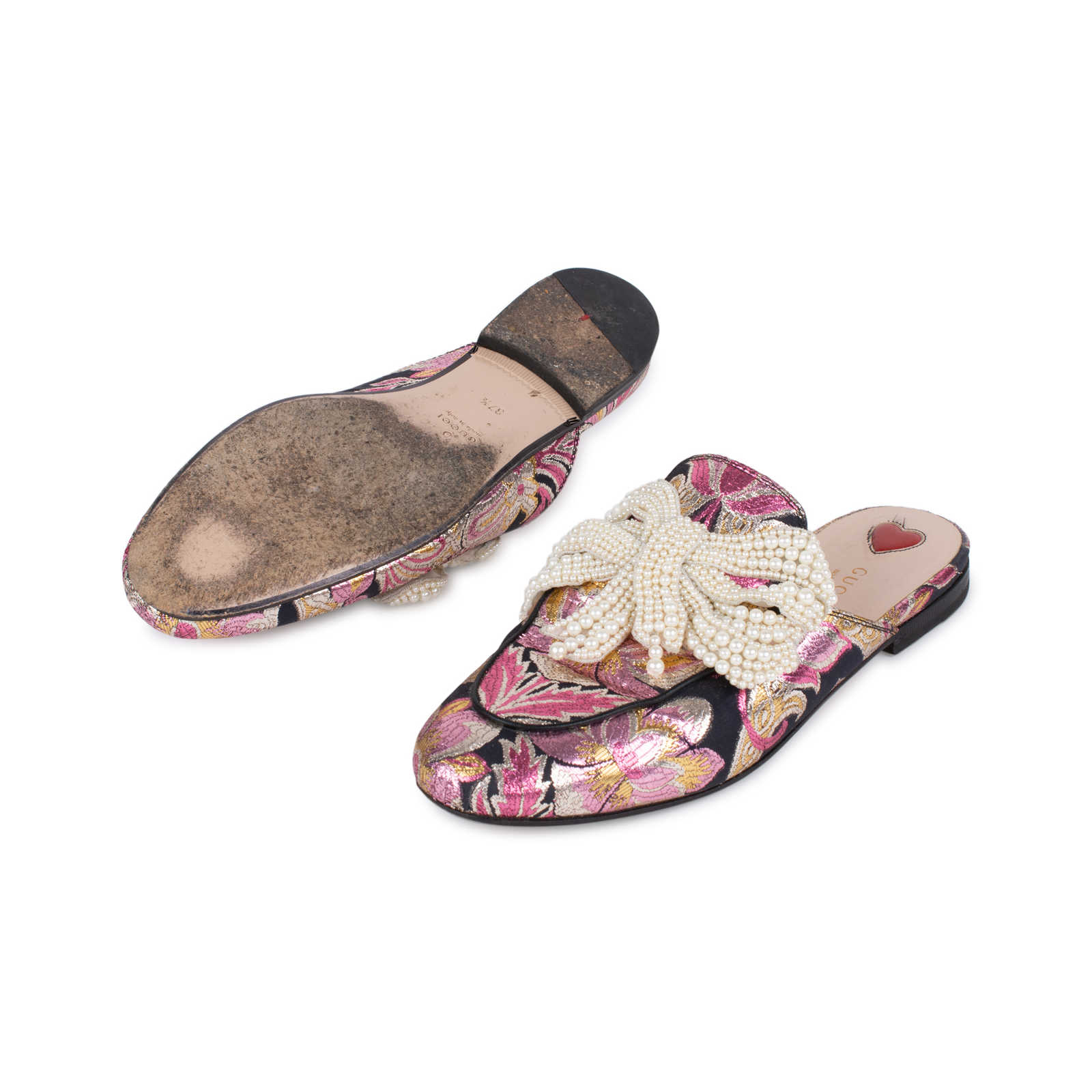 09067e7986d ... Authentic Second Hand Gucci Princetown Pearl Embellished Brocade  Slippers (PSS-197-00085) ...