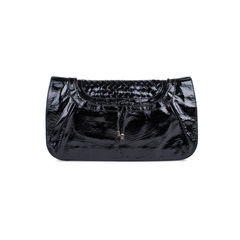 Patent Leather Flap Clutch