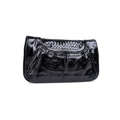Salvatore ferragamo patent leather flap clutch 2?1535449721