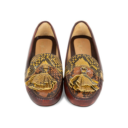 Authentic Second Hand Car Shoe Python-Embossed Loafers (PSS-356-00032)