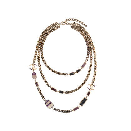 Authentic Pre Owned Chanel Amethyst Triple-Strand Chain Necklace (PSS-240-00249)