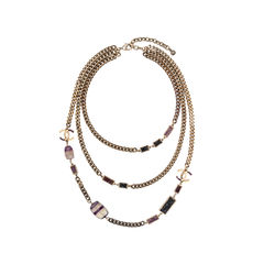 Amethyst Triple-Strand Chain Necklace