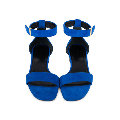Authentic Second Hand Céline Blue Suede Flat Sandals (PSS-547-00004)