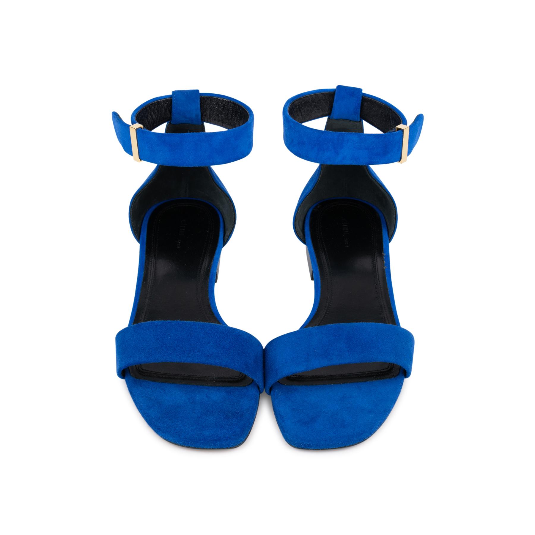 4a8e5914c250 Authentic Second Hand Céline Blue Suede Flat Sandals (PSS-547-00004 ...