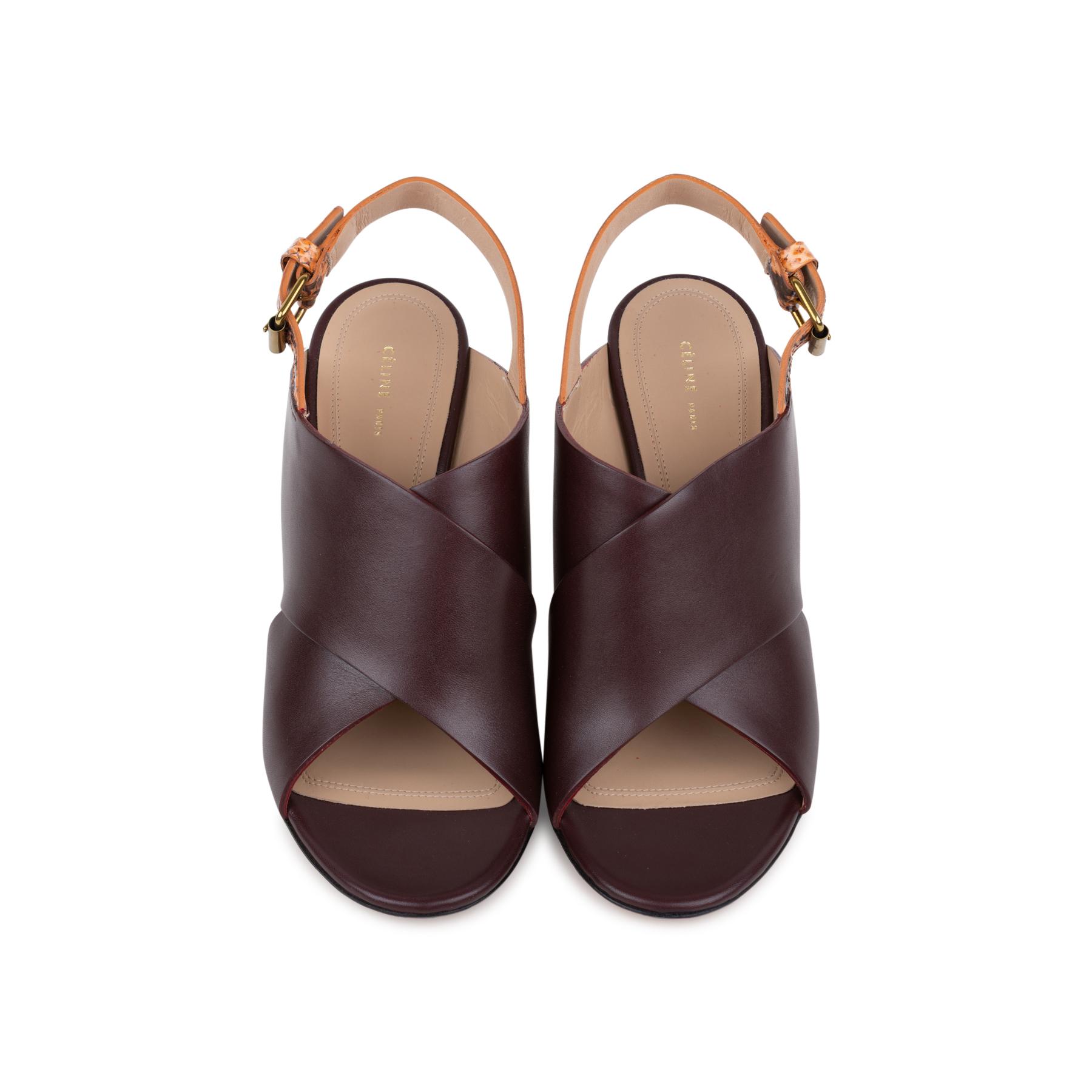 9ada9660428 Authentic Second Hand Céline Python Slingback Wedge Sandals (PSS-547-00006)