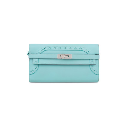 Authentic Second Hand Hermès Bleu Atoll Ghillies Kelly Classic Wallet (PSS-197-00088)