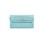 Authentic Pre Owned Hermès Bleu Atoll Ghillies Kelly Classic Wallet (PSS-197-00088) - Thumbnail 0