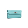 Authentic Pre Owned Hermès Bleu Atoll Ghillies Kelly Classic Wallet (PSS-197-00088) - Thumbnail 1