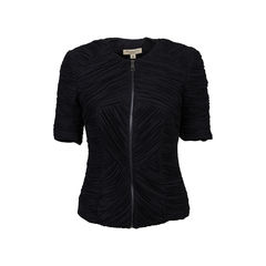 Ruched Crepe Zip Blouse