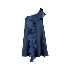 One Shoulder Ruffled Satin Dress