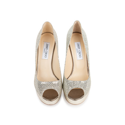 Authentic Second Hand Jimmy Choo Crown Peep Toe Pumps (PSS-552-00010)